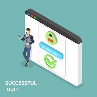 Isometric flat vector concept of successful login, mobile sign up.
