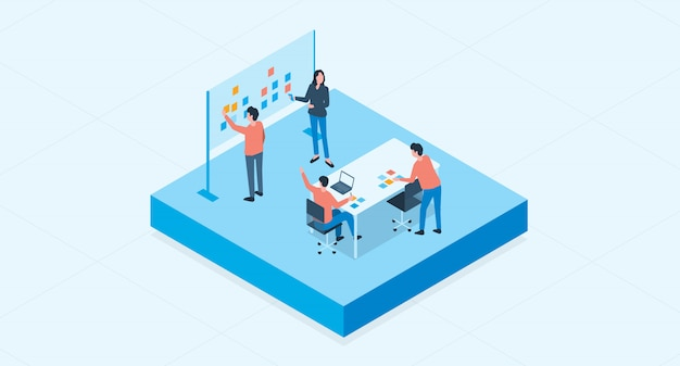 Isometric flat vector  group business team meeting and project brainstorming process concept