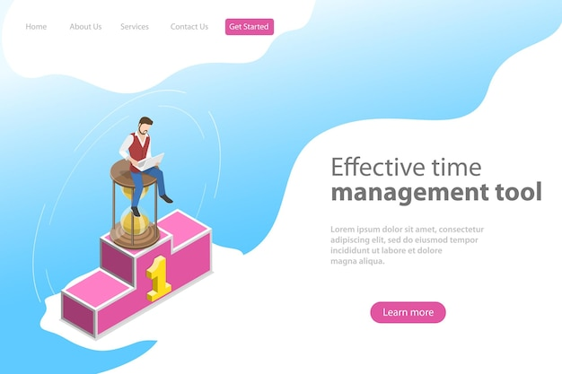 Isometric flat vector landing page template for effective time management