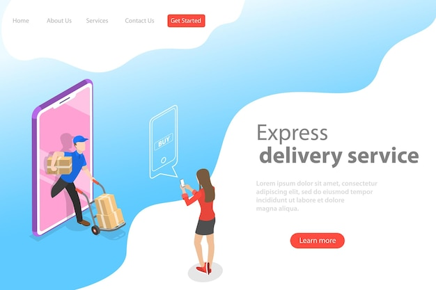 Isometric flat vector landing page template of express delivery service