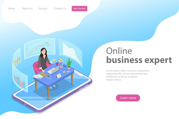 Isometric flat vector landing page template for financial growth
