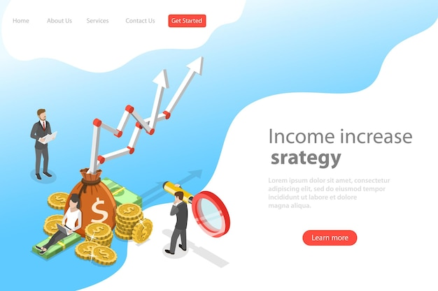 Isometric flat vector landing page template of income increase strategy Premium Vector