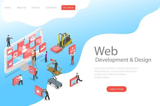 Isometric flat vector landing page template of website builder