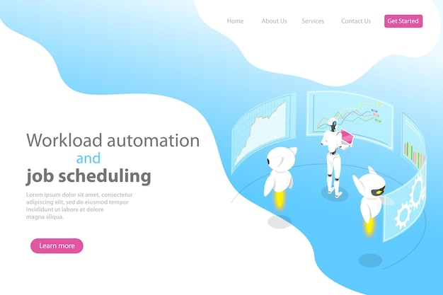 Isometric flat vector landing page template for workload automation