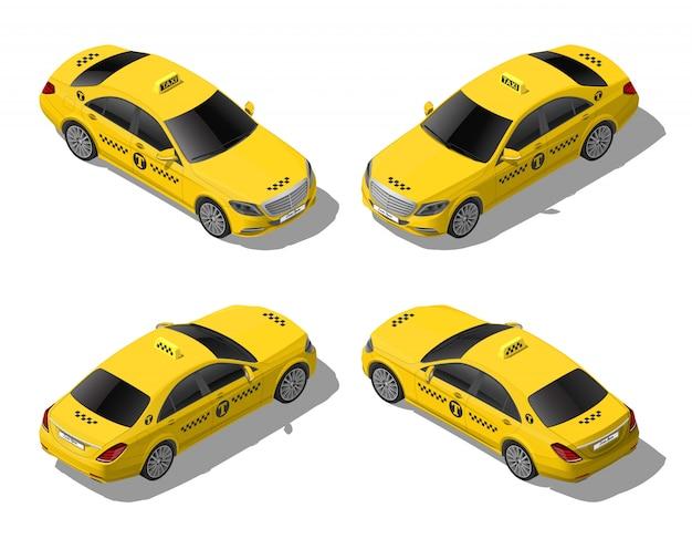 等尺性フラットイエロータクシー車セット。ビジネスまたはvip都市輸送サービス。白い背景で隔離の高品質の詳細なイラスト
