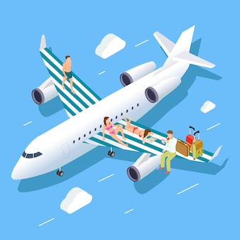 Isometric flight to summer  concept with relaxing people, luggage and travel manager
