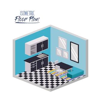 Изометрический план этажа домашней кухни