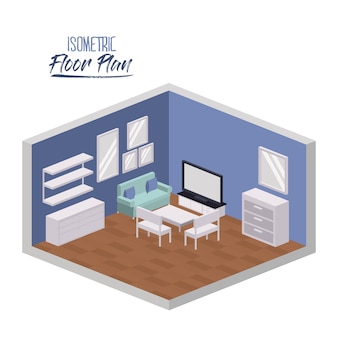 Изометрический план гостиной гостиной