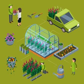 Isometric flower farm concept. floristic 3d illustration