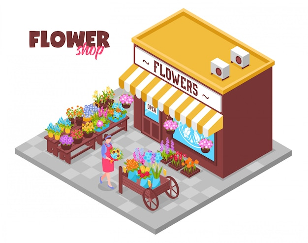 Isometric flower kiosk background