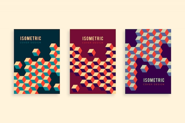 Isometric flyer template collection