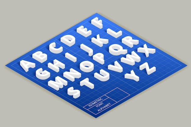 상단 평면에 아이소 메트릭 글꼴 알파벳입니다. abc 모던 스타일, 타이포그래피 라틴