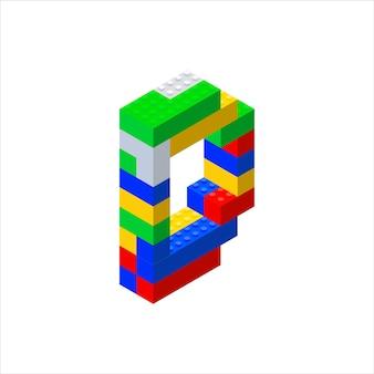 Изометрический шрифт из цветных пластиковых блоков