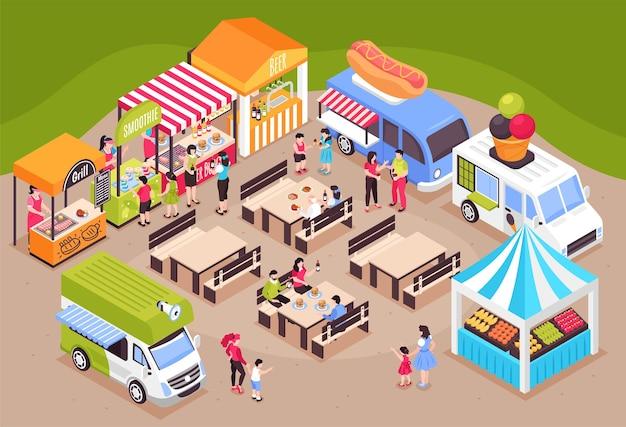 テーブル、座席、市場の屋台、バンを備えた見本市会場を望む等尺性フードコートの公正な構成