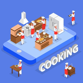 Isometric food order composition with italian restaurant staff cooking in kitchen 3d vector illustration