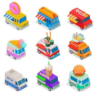 Изометрические еда грузовик иллюстрации, уличный грузовик на рынке, грузоперевозки еда 3d изолированных значок набор на белом фоне