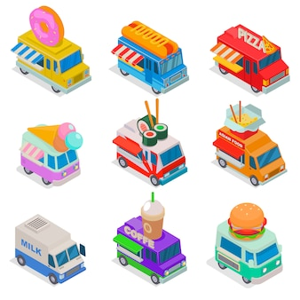 Isometric food truck illustration, street truck in market, trucking food 3d isolated icon set on white background