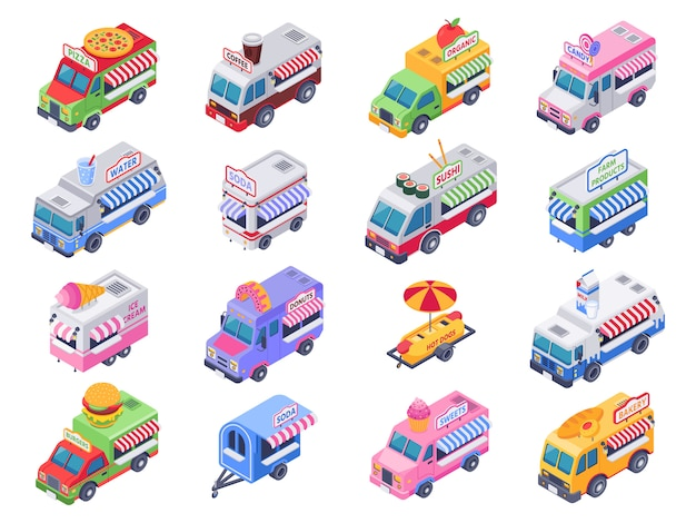 Isometric food trucks. street carts, hot dog truck and outdoor coffee selling market 3d illustration set