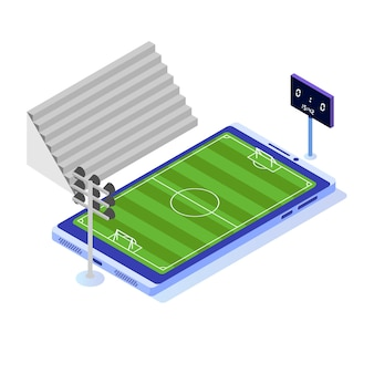 Isometric football field on smartphone.
