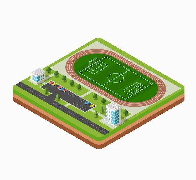 アイソメサッカースタジアムの芝生、木、建物