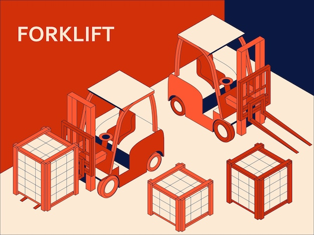 Isometric forklift for raising and transporting goods. working transport