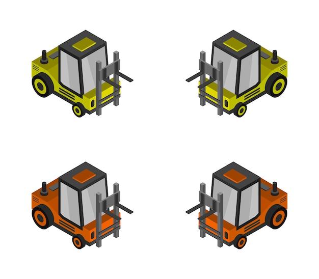 Isometric forklift truck set