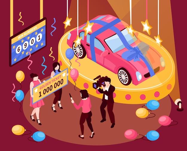 Изометрическая композиция для выигрыша в лотерею удач с призовым билетом и автомобилем с конфетти людей и разноцветными воздушными шарами