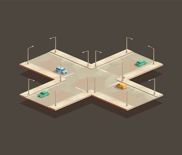 Isometric four-way intersection