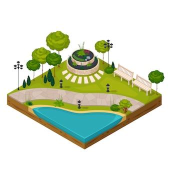 公園の風景の等尺性フラグメント 無料ベクター