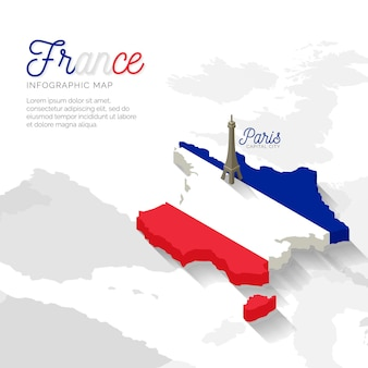 Isometric france map infographic