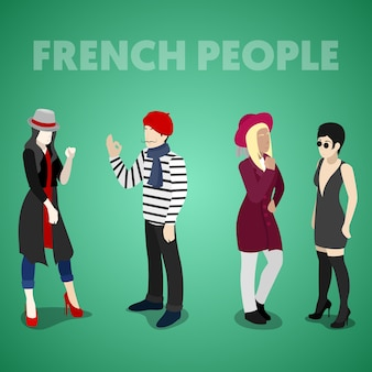 전통 옷을 입고 아이소 메트릭 프랑스 사람들. 벡터 3d 평면 그림