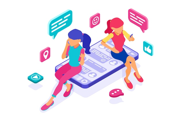 Isometric friends girls chat in social networks send messages photos selfie call using smartphone. online dating friendship virtual relationships. teenagers are dependent new internet technologies