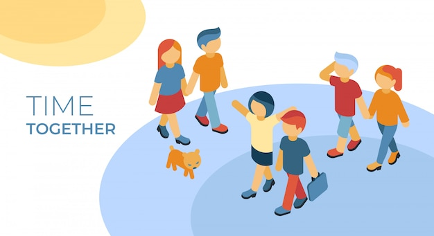 Isometric friends time together walking infographics