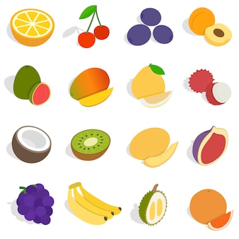 Набор иконок изометрические фрукты. универсальные иконки фруктов для веб-интерфейса и мобильного интерфейса, набор основных фруктовых элементов, изолированных векторная иллюстрация