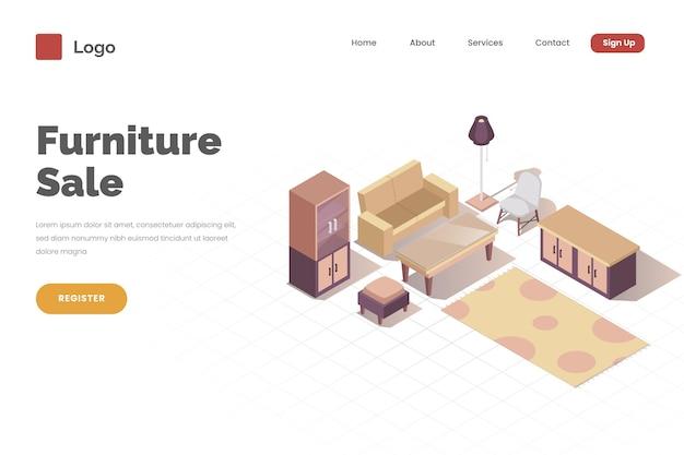 Modello di pagina di destinazione di vendita di mobili isometrici