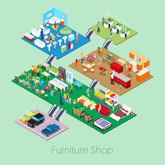 Isometric furniture shop inside with kitchen, bathroom and living room furniture.   3d flat illustration