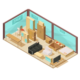 Isometric furniture store with glass walls and wall cabinets tables sofas and double beds