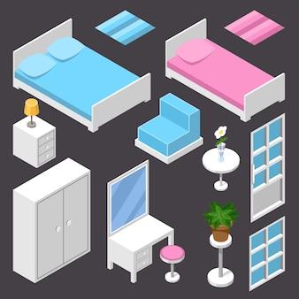 Isometric furniture white color