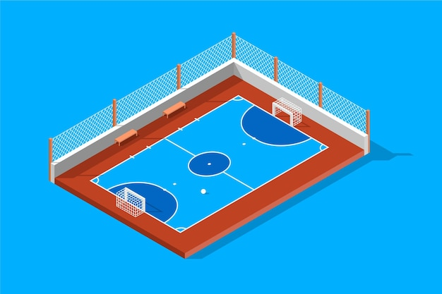 Isometric futsal field illustration