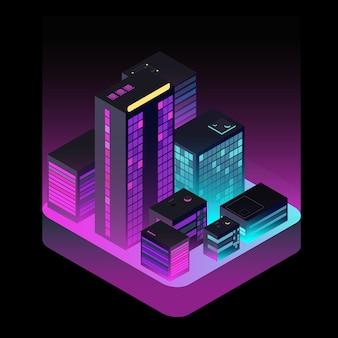 等尺性の未来都市。空から見た工業用オフィスビル
