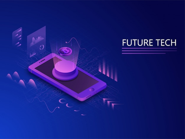 Isometric, future technology concept.