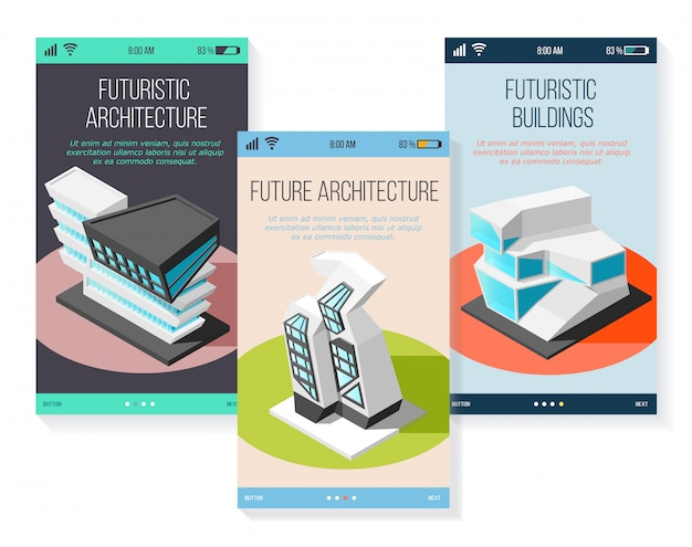 Изометрическая футуристическая архитектура зданий будущего различной формы, набор мобильных экранов
