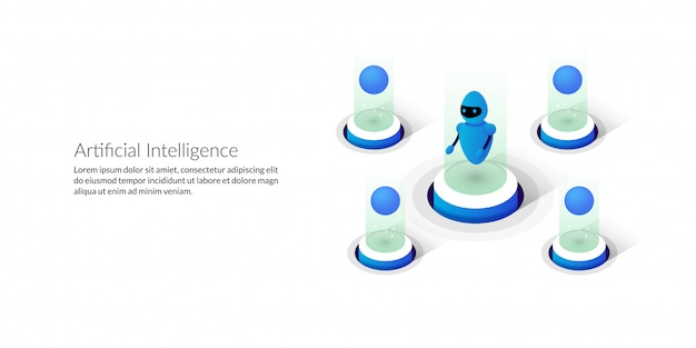 Isometric futuristic artificial intelligence