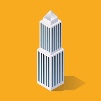 等尺性の未来的な建物。ベクトルイラスト