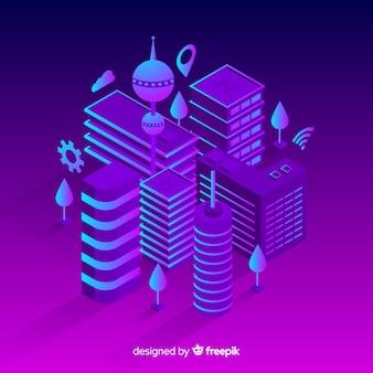 Isometric futuristic city background