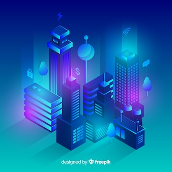 Isometric futuristic city background
