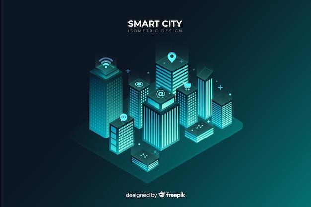 Isometric futuristic night city background