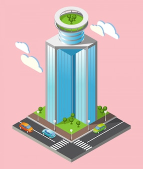 Isometric futuristic skyscrapers composition with part of the city with roads and tall buildings on pink background