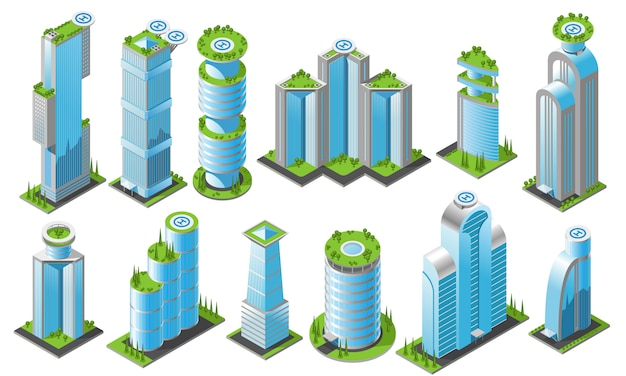 Isometric futuristic skyscrapers icon set with different styles office buildings of heights and shapes