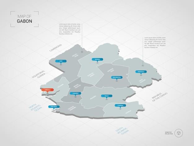 等尺性ガボンマップ。都市、国境、首都、行政区画、ポインターマークが付いた定型化された地図のイラスト。グリッドとグラデーションの背景。